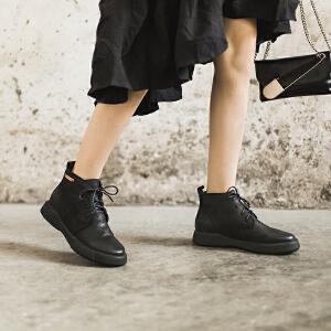 玛菲玛图马丁靴女英伦风女鞋秋冬2018新款系带学生短靴女平底加绒真皮鞋子009-20SA
