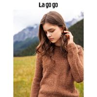 【年终狂欢节两件四折/叠满200-10优惠�弧�Lagogo2019秋冬新款纯色圆领套头针织衫女毛衣长袖上衣HCMM43