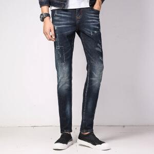 伯克龙 秋冬季新款加厚牛仔裤男士潮流修身破洞补丁牛仔长裤子青年休闲裤D614