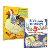 【全店300减100】现货廖彩杏推荐韵文与歌谣 Five Little Monkeys 8故事合集 Storybook