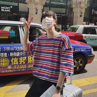2018夏装潮流男新款短袖t恤彩色条纹个性五分袖半袖T恤宽松情侣T