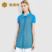 恒源祥女士短袖衬衫 夏季简约中长款娃娃领条纹拼色提花薄衬衫