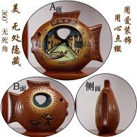 新中式红酒柜玄关隔断柜博古架客厅小摆件装饰品创意家居鱼工艺品 巧克力色 浮雕鱼立体感较强