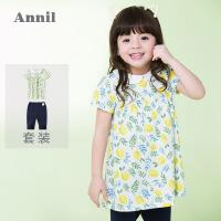 【3件3折:67.25】安奈儿童装女童清新印花短袖套装夏装新款