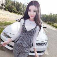 格子套装潮 夏季新品修身白色打底衫V领小裙摆吊带显瘦休闲九分裤