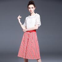 连衣裙女夏新款小香风镂空短袖套装裙条纹腰带A字裙两件套潮