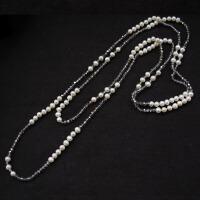 天然珍珠毛衣链长款项链配饰女百搭灵动大气双多层挂链装饰品欧美 白色