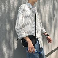 港风夏季薄款男士长袖衬衣文艺小清新条纹宽松衬衫韩版寸衫潮