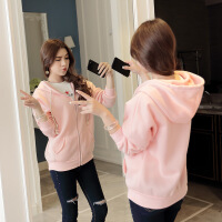 韩国秋冬纯色拉链连帽卫衣女外套头粉色学生宽松韩版学院风带帽衫 粉红色 均码