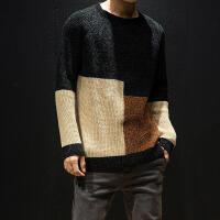 冬季日系复古撞色毛衣男士大码圆领套头宽松针织衫潮流毛线衣男装