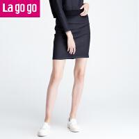 Lagogo牛仔群秋冬高腰半裙百搭包臀短裙秋季修身显瘦半身裙子女士