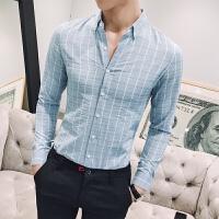 新品18春季新款男士韩版修身绿色格子休闲衬衫潮流青年免烫长袖衬