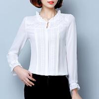 雪纺衫长袖 春秋装新款时尚百搭韩版女装宽松蕾丝上衣潮