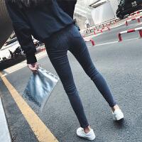 慈姑秋季新款韩版chic高腰紧身弹力九分牛仔裤女学生百搭铅笔小脚裤子