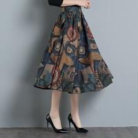 春装新款中国风大码毛呢半身裙中长款高腰裙a字版百褶裙妮子
