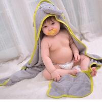 婴儿浴巾竹纤维卡通带帽宝宝洗澡巾斗篷新生儿连帽包被裹巾柔软M