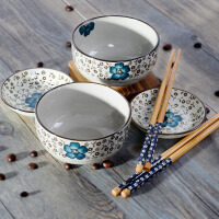 金禹瑞美remec蓝心语手绘釉下彩6头礼品餐具 礼品装 陶瓷餐具 餐具套装