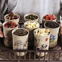 家用迷你小�A罐陶瓷茶�~罐小�密封罐�t茶普洱茶罐粗陶存��罐