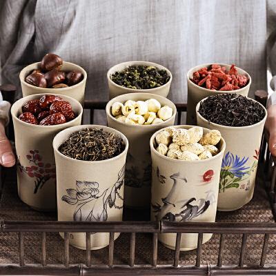 家用迷你小圆罐陶瓷茶叶罐小号密封罐红茶普洱茶罐粗陶存储罐