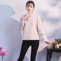 改良时尚短旗袍上衣秋冬2018新款中国风唐装少女民国复古长袖外套