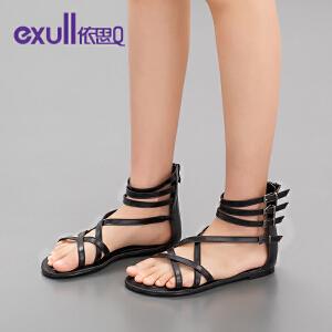 依思q新款平底平跟罗马鞋细带纯色舒适优雅性感凉鞋