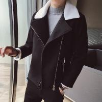 2018秋冬季潮流帅气机车夹克男韩版修身短款加厚羊羔毛风衣男外套