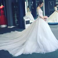 2018新款新娘长拖尾一字肩婚纱礼服欧美中长袖公主大码修身2018
