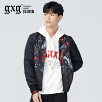 gxg.jeans男装冬季黑色青年流行棒球服立领印花夹克外套64621083