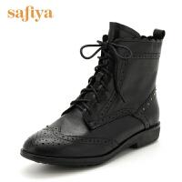【满99减30】索菲娅(Safiya)牛皮革/羊皮革方跟圆头短靴SF64116004
