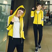 2018春秋季新款休闲运动服套装女学生连帽卫衣宽松显瘦跑步两件套