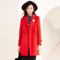 冬装新品西装领中长羊毛呢大衣双面呢外套女S640152D00