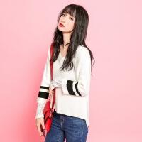 【2.5折到手价100元】【叠券满299-30】拉贝尔7m新款韩版V领宽松两件套毛针织衫女