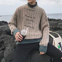 新款毛衣男韩版潮流个性毛衣外套学生半领宽松厚毛衣男士套头针织