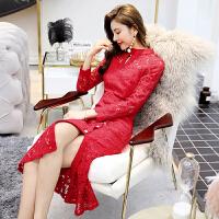 蕾丝连衣裙红色旗袍式包臀鱼尾裙2019春装新款女气质长裙潮