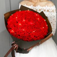 玫瑰花束送女朋友康乃馨礼物浪漫表香皂花99朵香皂花礼盒永生花惊喜的创意节日礼品 +灯