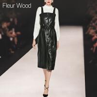 FLEUR WOOD2017秋季新款女装欧洲站气质修身显瘦吊带裙皮裙连衣裙