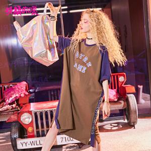 【2件3折到手价:103】妖精的口袋原宿风裙子新款chic圆领长款短袖连衣裙女