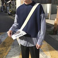 新款时尚假两件条纹拼接潮男套头卫衣 韩版青年学生宽松秋装