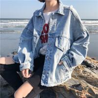韩系女装新款原宿风bf秋冬女装破洞牛仔外套女大口袋个性拼接上衣