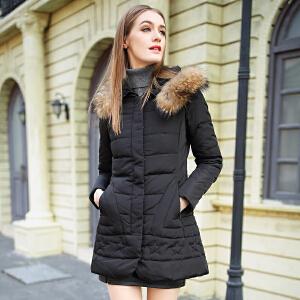 雅鹿羽绒服女中长款韩版修身显瘦潮外套貉子毛领女冬装YQ1101690