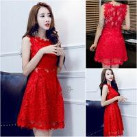 2018夏季新款女装小清新性感无袖显瘦收腰蕾丝连衣裙红色小礼服潮