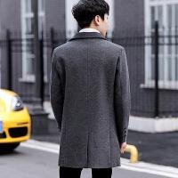 韩版修身潮流毛呢大衣男士呢子外套加厚西装大衣冬季风衣男中长款