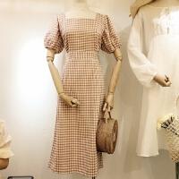 2018春装新款女韩系港味复古高腰显瘦简约格子连衣裙1