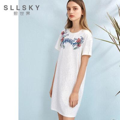 熙世界2018夏季新款绣花白色短袖连衣裙女中长款套头裙子112SL104