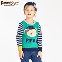 【秒杀价:90】Pawinpaw宝英宝小熊童装冬季款男童卡通小熊针织毛衣儿童条纹上衣