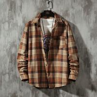 格子衬衫韩版潮流帅气男复古原宿风长袖衬衣很仙的慵懒风百搭外套