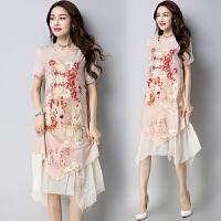 假两件连衣裙2018春夏新款民族风女装印花中长款短袖圆领宽松裙子
