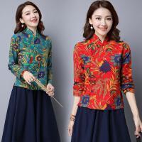 中国风复古民族风女装春装上衣旗袍修身显瘦长袖女棉麻衬衫女