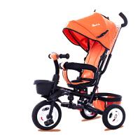 婴儿可折叠手推车三轮车脚踏车0-6岁大号童车男女宝宝车 桔色