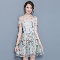 夏装新款韩版无袖欧根纱网连衣裙气质显瘦刺绣花中长裙子